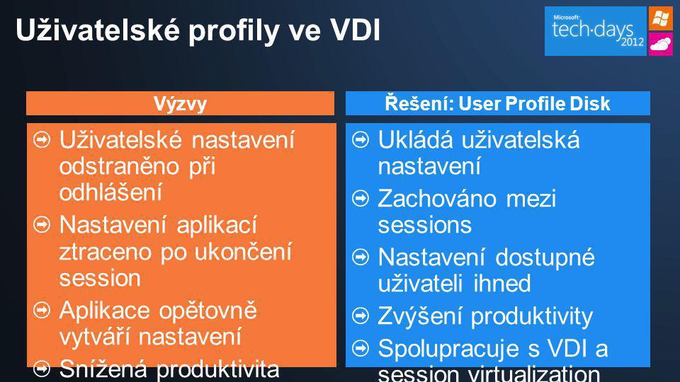 VýzvyŘešení: User Profile Disk Uživatelské nastavení odstraněno při odhlášení Nastavení aplikací ztraceno po ukončení session Aplikace opětovně vytvář