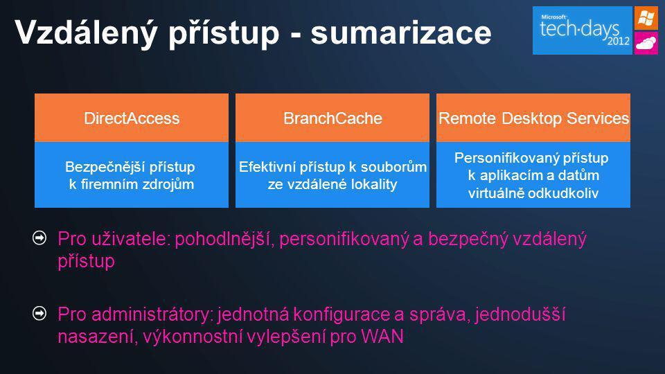 DirectAccess Bezpečnější přístup k firemním zdrojům Remote Desktop Services Personifikovaný přístup k aplikacím a datům virtuálně odkudkoliv BranchCac