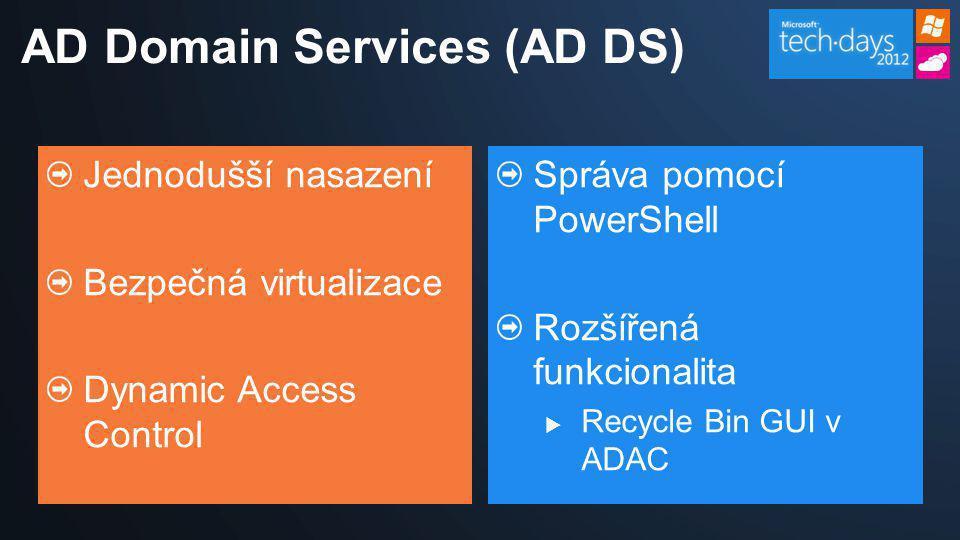 Jednodušší nasazení Bezpečná virtualizace Dynamic Access Control Správa pomocí PowerShell Rozšířená funkcionalita  Recycle Bin GUI v ADAC AD Domain S
