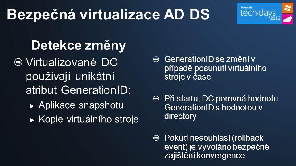 Bezpečná virtualizace AD DS Detekce změny Virtualizované DC používají unikátní atribut GenerationID:  Aplikace snapshotu  Kopie virtuálního stroje G