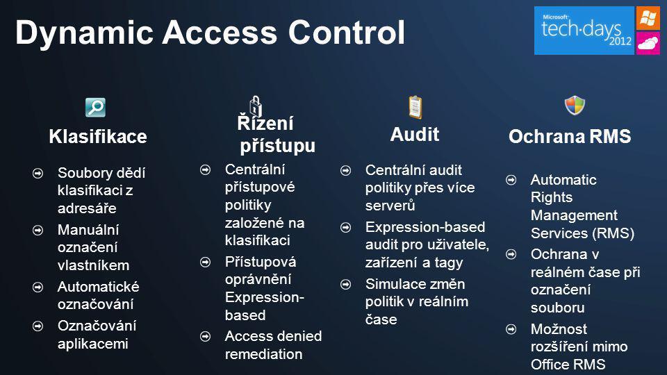Dynamic Access Control Klasifikace Audit Soubory dědí klasifikaci z adresáře Manuální označení vlastníkem Automatické označování Označování aplikacemi