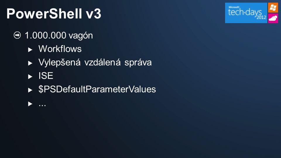 Disclaimer Všechno, co zde uvidíte se týká Beta verze (Consumer Preview) PowerShellu v3.