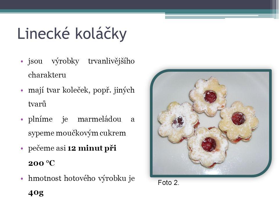Linecké koláčky jsou výrobky trvanlivějšího charakteru mají tvar koleček, popř. jiných tvarů plníme je marmeládou a sypeme moučkovým cukrem pečeme asi