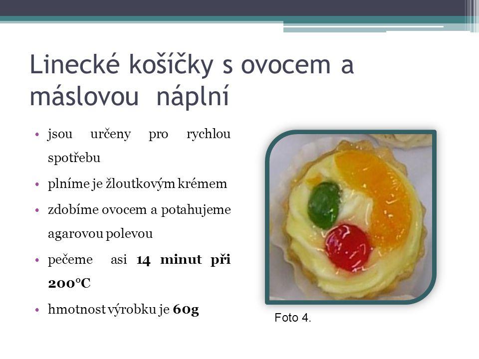 Linecké košíčky s ovocem a máslovou náplní jsou určeny pro rychlou spotřebu plníme je žloutkovým krémem zdobíme ovocem a potahujeme agarovou polevou p