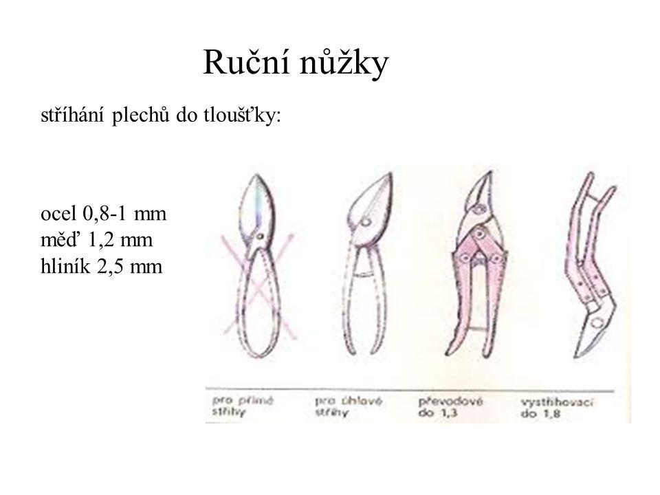 Ruční nůžky stříhání plechů do tloušťky: ocel 0,8-1 mm měď 1,2 mm hliník 2,5 mm