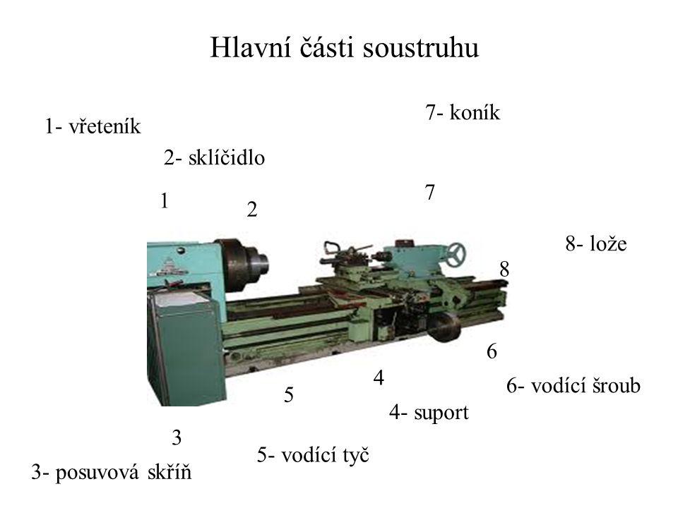 Hlavní části soustruhu 1 2 3 4 5 6 7 1- vřeteník 2- sklíčidlo 3- posuvová skříň 4- suport 5- vodící tyč 6- vodící šroub 7- koník 8 8- lože