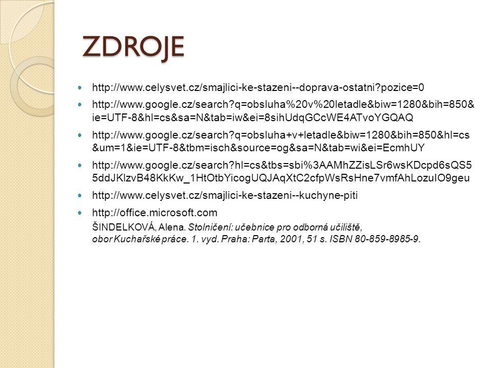 ZDROJE http://www.celysvet.cz/smajlici-ke-stazeni--doprava-ostatni?pozice=0 http://www.google.cz/search?q=obsluha%20v%20letadle&biw=1280&bih=850& ie=UTF-8&hl=cs&sa=N&tab=iw&ei=8sihUdqGCcWE4ATvoYGQAQ http://www.google.cz/search?q=obsluha+v+letadle&biw=1280&bih=850&hl=cs &um=1&ie=UTF-8&tbm=isch&source=og&sa=N&tab=wi&ei=EcmhUY http://www.google.cz/search?hl=cs&tbs=sbi%3AAMhZZisLSr6wsKDcpd6sQS5 5ddJKlzvB48KkKw_1HtOtbYicogUQJAqXtC2cfpWsRsHne7vmfAhLozuIO9geu http://www.celysvet.cz/smajlici-ke-stazeni--kuchyne-piti http://office.microsoft.com ŠINDELKOVÁ, Alena.