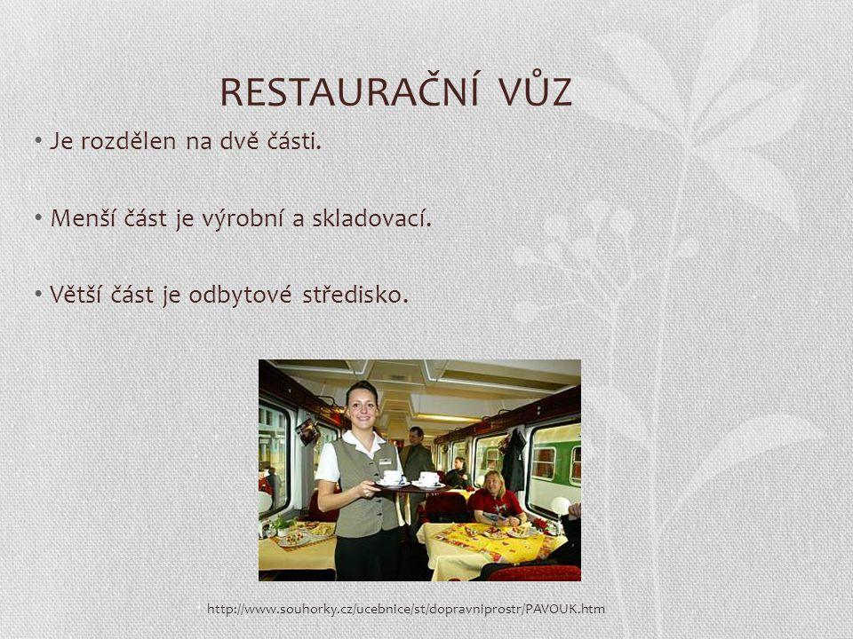 RESTAURAČNÍ VŮZ Je rozdělen na dvě části. Menší část je výrobní a skladovací. Větší část je odbytové středisko. http://www.souhorky.cz/ucebnice/st/dop