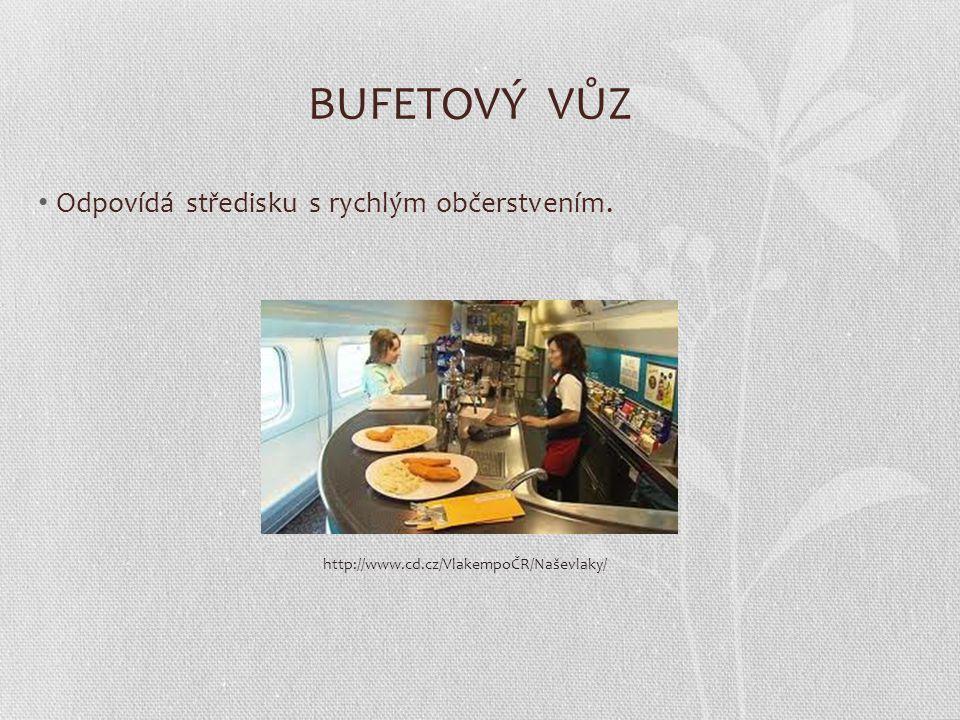 BUFETOVÝ VŮZ Odpovídá středisku s rychlým občerstvením. http://www.cd.cz/VlakempoČR/Naševlaky/