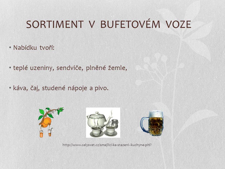 SORTIMENT V BUFETOVÉM VOZE Nabídku tvoří: teplé uzeniny, sendviče, plněné žemle, káva, čaj, studené nápoje a pivo.