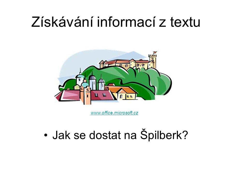 Získávání informací z textu Jak se dostat na Špilberk www.office.microsoft.cz