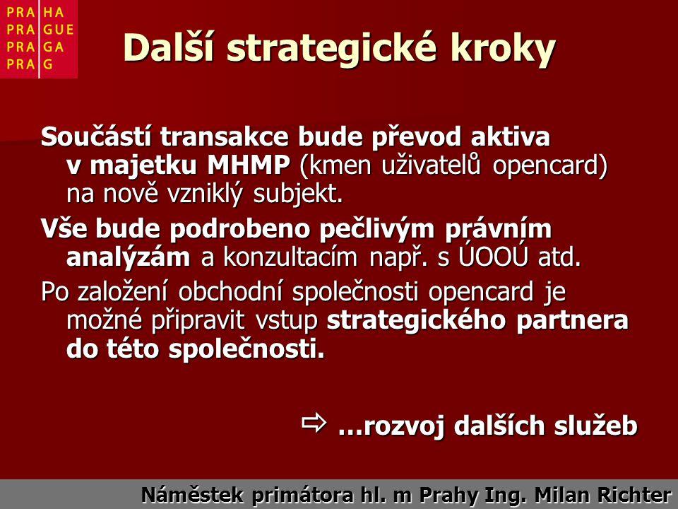 Další strategické kroky Součástí transakce bude převod aktiva v majetku MHMP (kmen uživatelů opencard) na nově vzniklý subjekt.