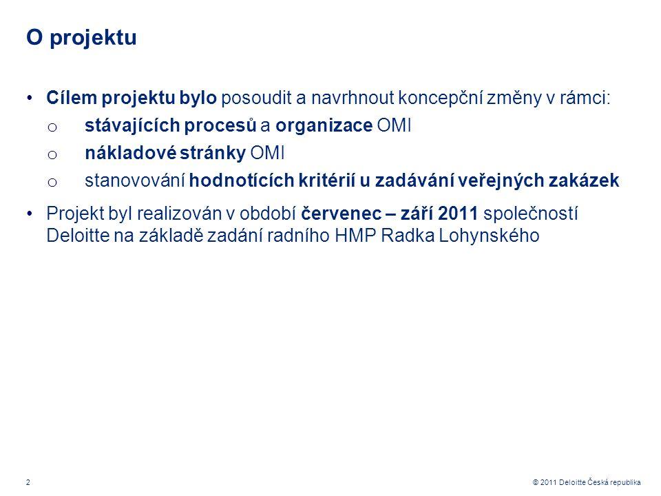 2 © 2011 Deloitte Česká republika O projektu Cílem projektu bylo posoudit a navrhnout koncepční změny v rámci: o stávajících procesů a organizace OMI