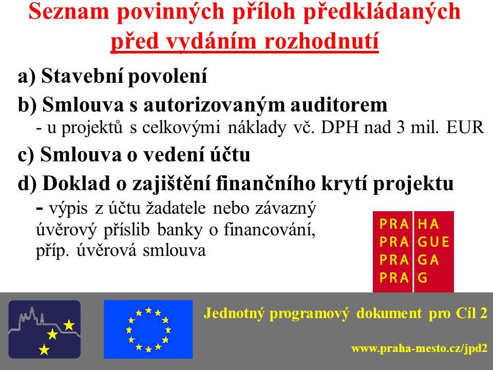Seznam povinných příloh předkládaných před vydáním rozhodnutí a) Stavební povolení b) Smlouva s autorizovaným auditorem - u projektů s celkovými náklady vč.