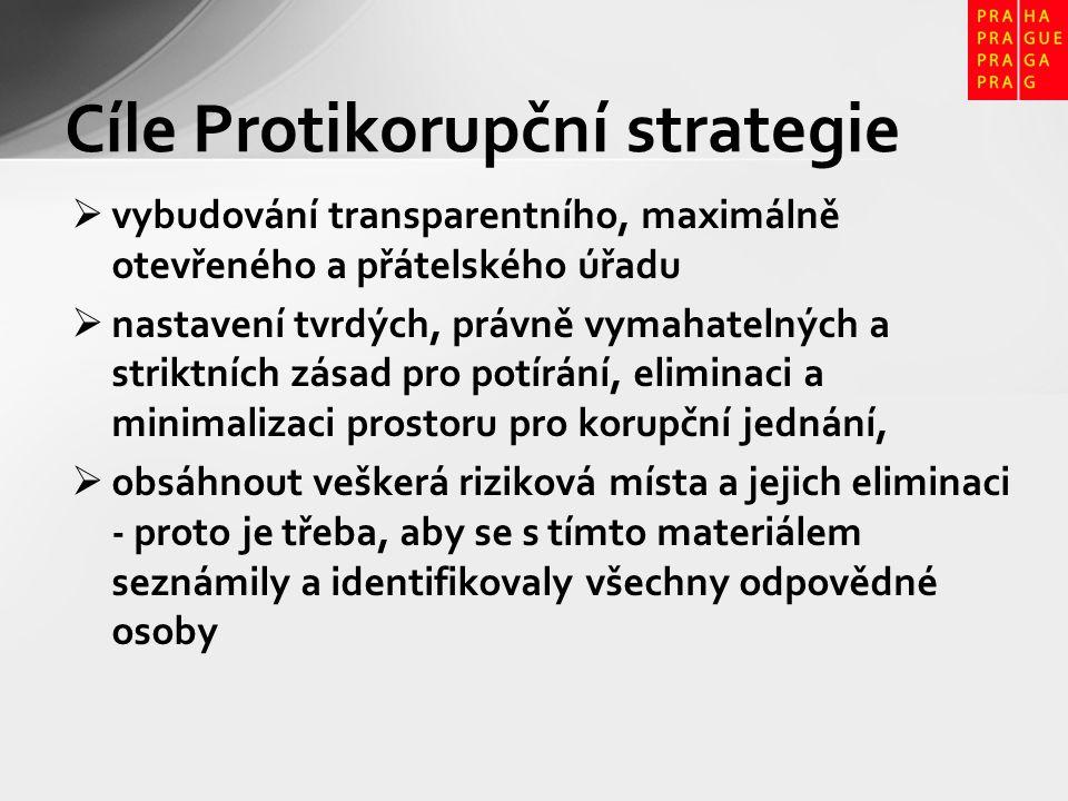 Protikorupční strategie - zásady zvýšení veřejné kontroly (občané v komisích) elektronizace agend, zveřejňování všech informací – ceny: 1.