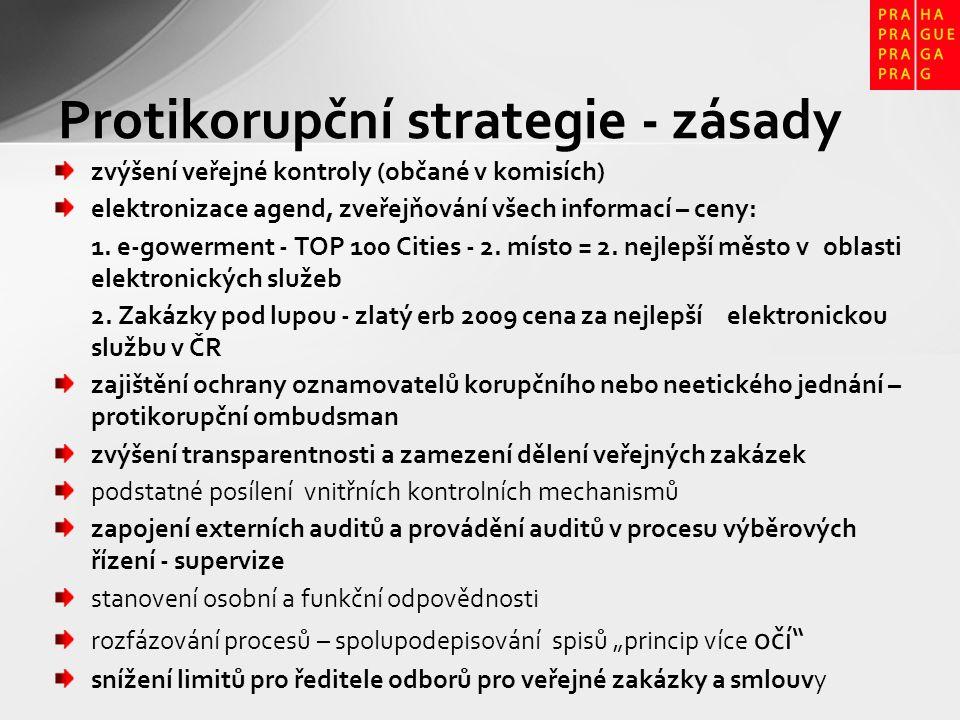 Protikorupční strategie - zásady zvýšení veřejné kontroly (občané v komisích) elektronizace agend, zveřejňování všech informací – ceny: 1. e-gowerment