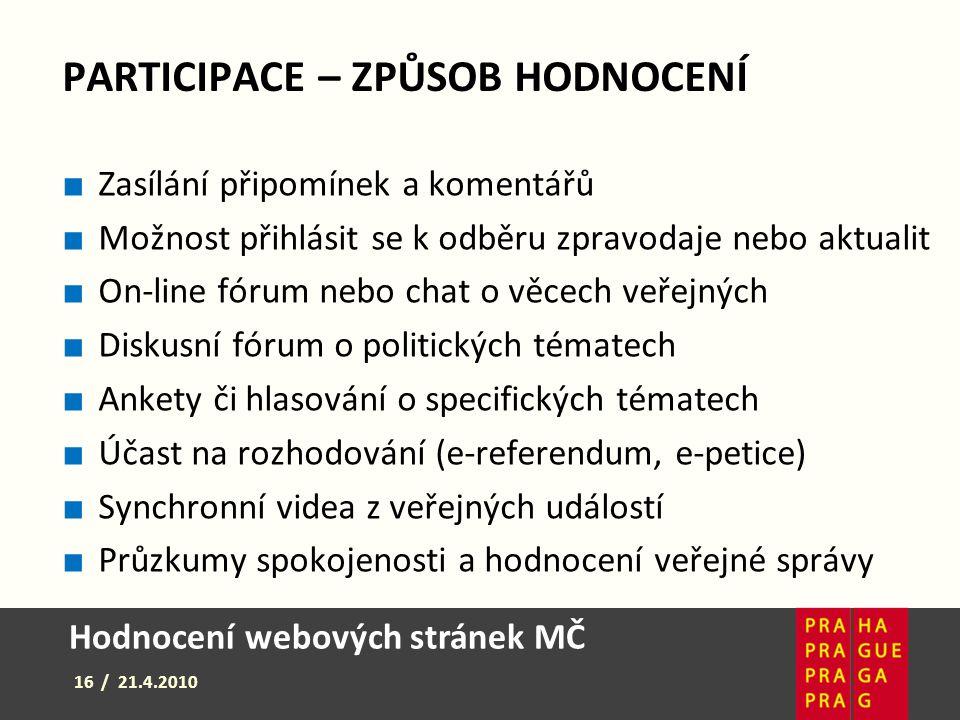Hodnocení webových stránek MČ 16 / 21.4.2010 PARTICIPACE – ZPŮSOB HODNOCENÍ ■ Zasílání připomínek a komentářů ■ Možnost přihlásit se k odběru zpravoda