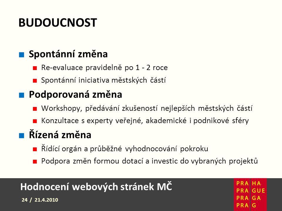 Hodnocení webových stránek MČ 24 / 21.4.2010 BUDOUCNOST ■ Spontánní změna ■ Re-evaluace pravidelně po 1 - 2 roce ■ Spontánní iniciativa městských část
