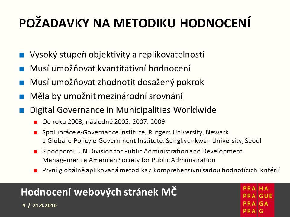 Hodnocení webových stránek MČ 5 / 21.4.2010 HODNOCENÍ MĚSTSKÝCH ČÁSTÍ ■ 98 otázek (219 bodů) v 5 okruzích ■ zabezpečení, obsah, přístupnost, služby, participace ■ 43 ukazatelů indexu dichotomních (ano/ ne) ■ Zbývající ukazatele - jedna ze čtyř možností (0, 1, 2, 3) ■ Všechny stránky byly hodnoceny v české jazykové verzi ■ Každá stránka byla v zájmu spolehlivosti ohodnocena dvěma hodnotiteli ■ V případě výrazného rozdílu v hodnoceních (více než 10 %) byla internetová stránka ohodnocena potřetí a rozdíly byly narovnány