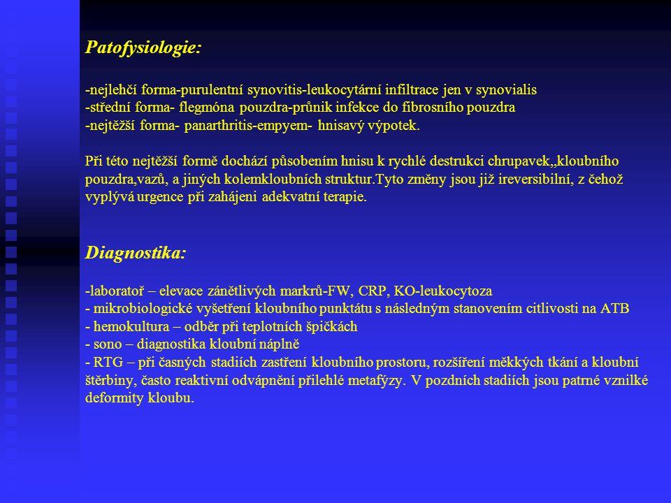 Ad.1) Pyogenní Dělení obdobně jako u osteomyelitid na postižení u a)novorozenců b)starších dětí a dospělých ad.a) v novorozeneckém věku dominuje těžký