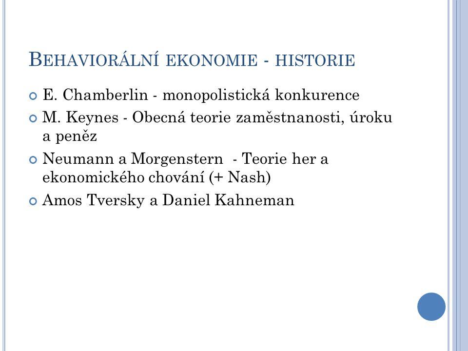 B EHAVIORÁLNÍ EKONOMIE - HISTORIE E. Chamberlin - monopolistická konkurence M.