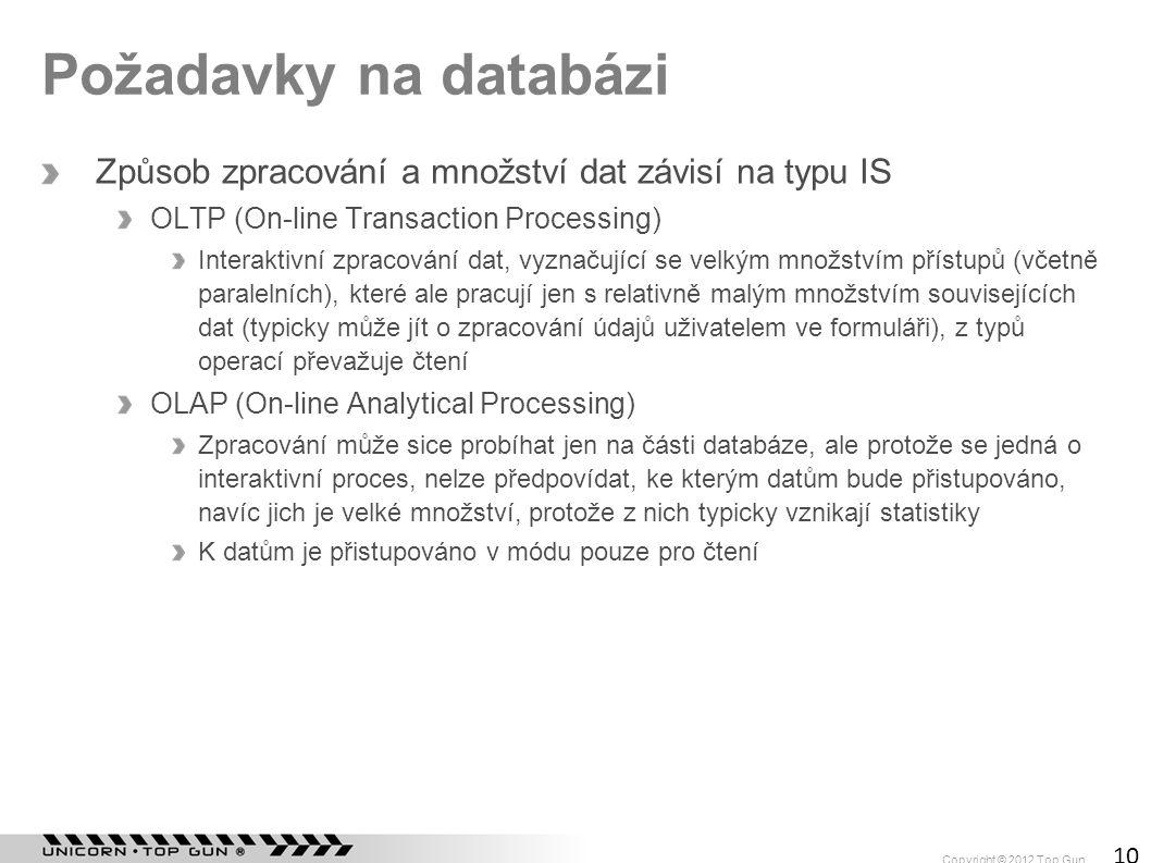 Copyright © 2012 Top Gun 10 Požadavky na databázi Způsob zpracování a množství dat závisí na typu IS OLTP (On-line Transaction Processing) Interaktivn