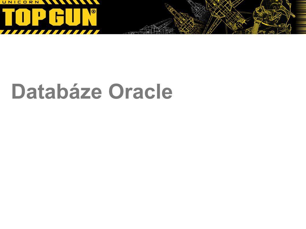 """Copyright © 2012 Top Gun 17 Oracle Unikátnost Oracle Způsob zamykání dat Zámky pouze pro měněná data Zámky na úrovni řádků – neexistuje/není potřeba eskalace Všechno je podřízeno bezpečnosti dat – při dodržení všech best practices prakticky nemůže dojít ke ztrátě dat Důraz na výkon v enterprise řešeních Počítá se s nasazením na odpovídajícím HW, na udržovaném OS s kompetentním adminem ;) Není to """"malá databáze a nikdy nebude Express edititon lze použít i na malé projekty, ale … Do budoucna se bude hlavně prodávat už dohromady s HW Oracle Exadata Oracle technologies http://www.orafaq.com/wiki/Oracle_Product_Sethttp://www.orafaq.com/wiki/Oracle_Product_Set"""