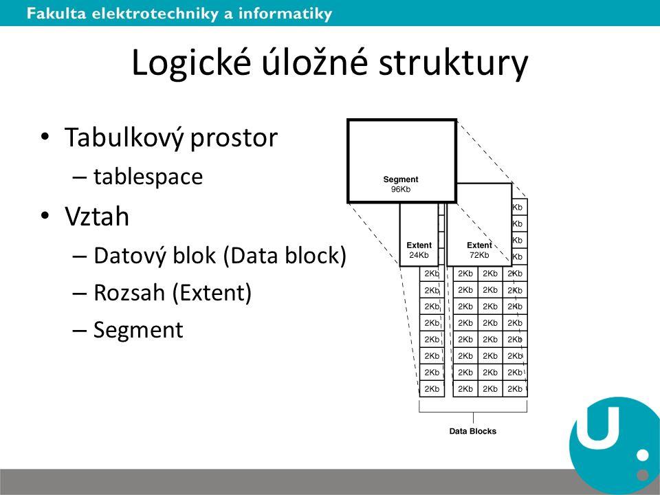 Logické úložné struktury Tabulkový prostor – tablespace Vztah – Datový blok (Data block) – Rozsah (Extent) – Segment