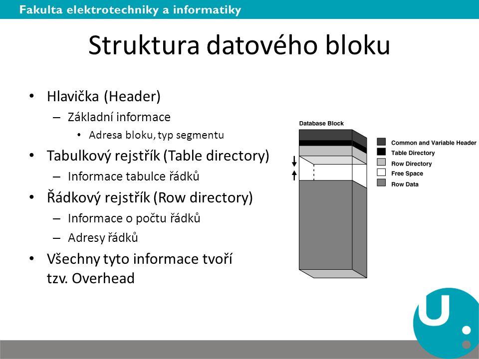 Struktura datového bloku Hlavička (Header) – Základní informace Adresa bloku, typ segmentu Tabulkový rejstřík (Table directory) – Informace tabulce řá