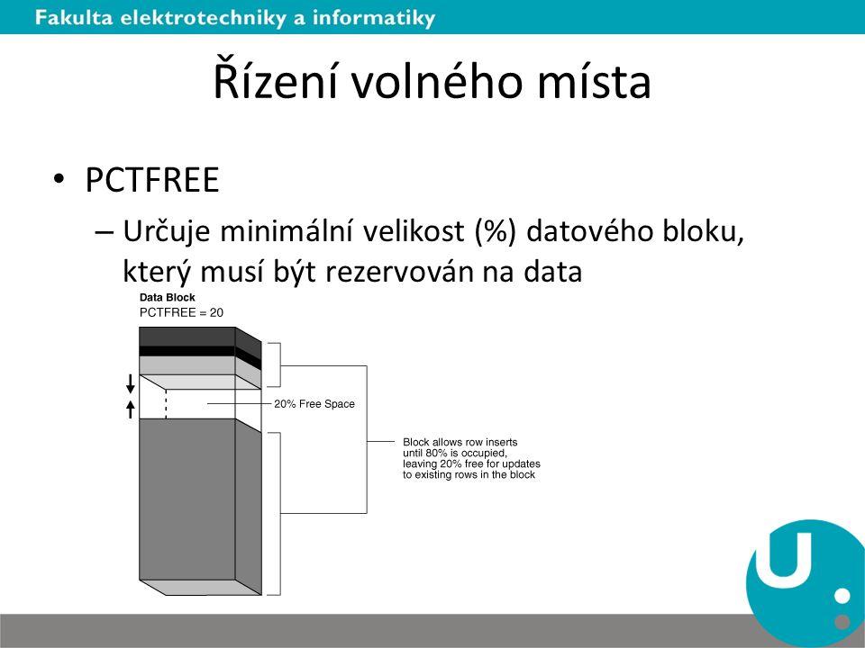 Řízení volného místa PCTFREE – Určuje minimální velikost (%) datového bloku, který musí být rezervován na data