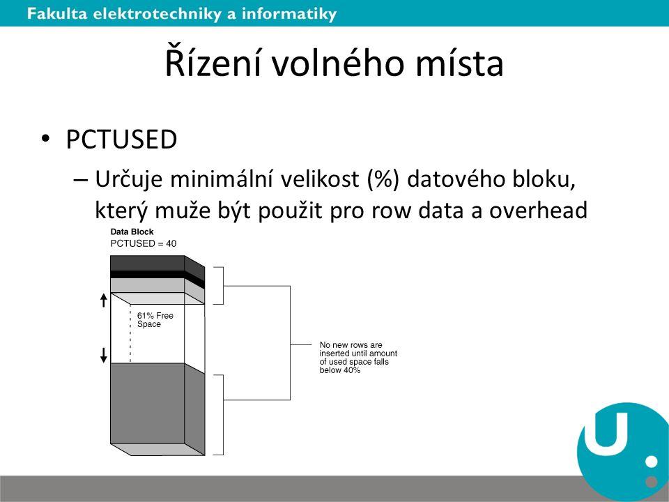 Řízení volného místa PCTUSED – Určuje minimální velikost (%) datového bloku, který muže být použit pro row data a overhead
