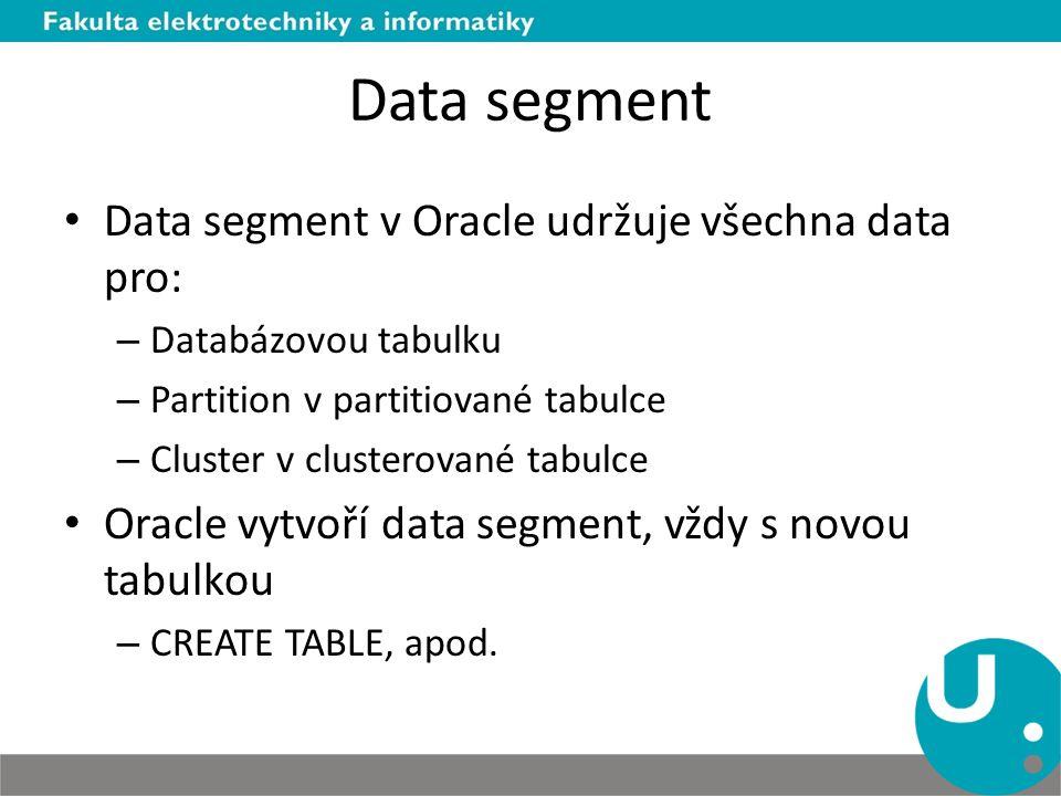 Data segment Data segment v Oracle udržuje všechna data pro: – Databázovou tabulku – Partition v partitiované tabulce – Cluster v clusterované tabulce
