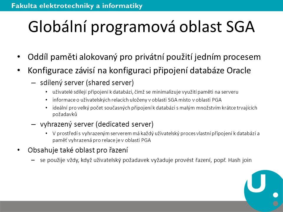 Globální programová oblast SGA Oddíl paměti alokovaný pro privátní použití jedním procesem Konfigurace závisí na konfiguraci připojení databáze Oracle