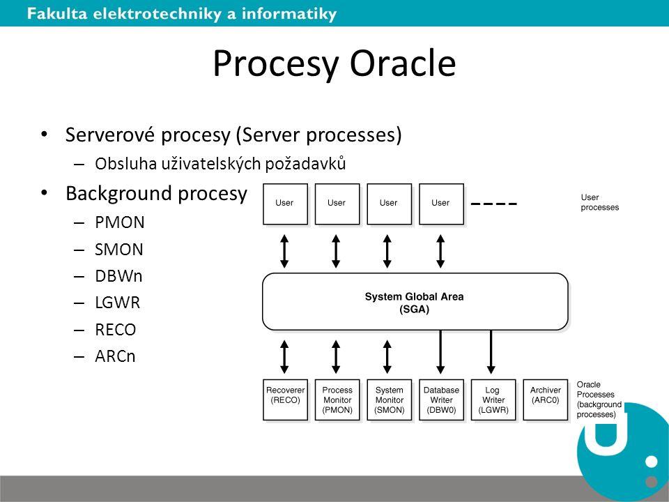 Serverové procesy (Server processes) – Obsluha uživatelských požadavků Background procesy – PMON – SMON – DBWn – LGWR – RECO – ARCn