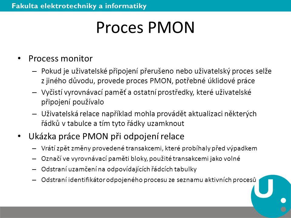 Proces PMON Process monitor – Pokud je uživatelské připojení přerušeno nebo uživatelský proces selže z jiného důvodu, provede proces PMON, potřebné úk