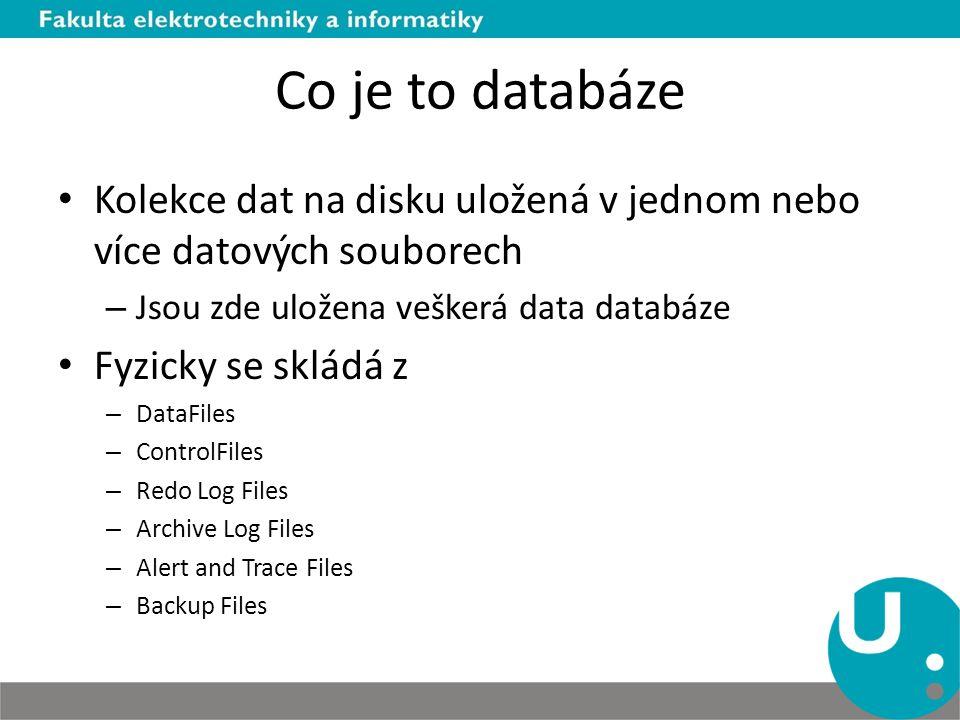 Co je to databáze Kolekce dat na disku uložená v jednom nebo více datových souborech – Jsou zde uložena veškerá data databáze Fyzicky se skládá z – Da