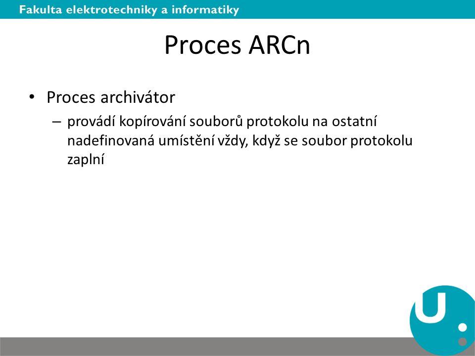 Proces ARCn Proces archivátor – provádí kopírování souborů protokolu na ostatní nadefinovaná umístění vždy, když se soubor protokolu zaplní