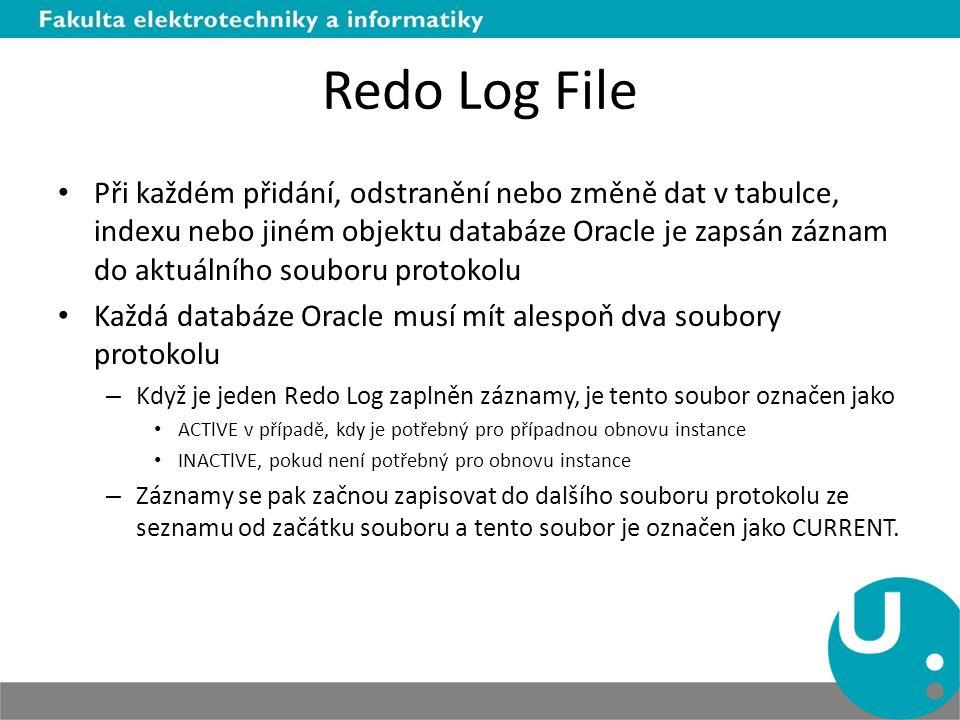 Redo Log File Při každém přidání, odstranění nebo změně dat v tabulce, indexu nebo jiném objektu databáze Oracle je zapsán záznam do aktuálního soubor