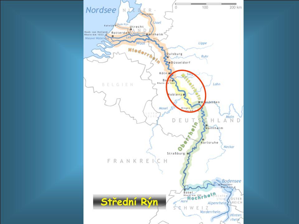 Mittelrhein - střední tok řeky Rhein – Rýna protéká velmi zajímavou oblastí. Leží v úseku od Bingenu až po bývalé hlavní město Bonn. Podél toku řeky j