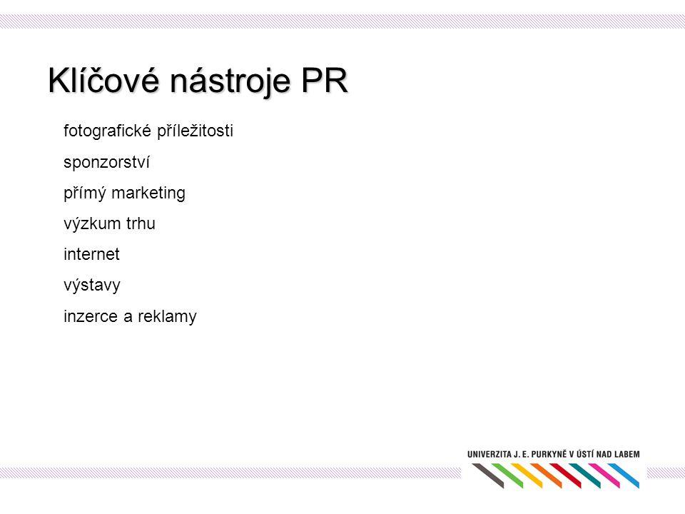 Klíčové nástroje PR fotografické příležitosti sponzorství přímý marketing výzkum trhu internet výstavy inzerce a reklamy