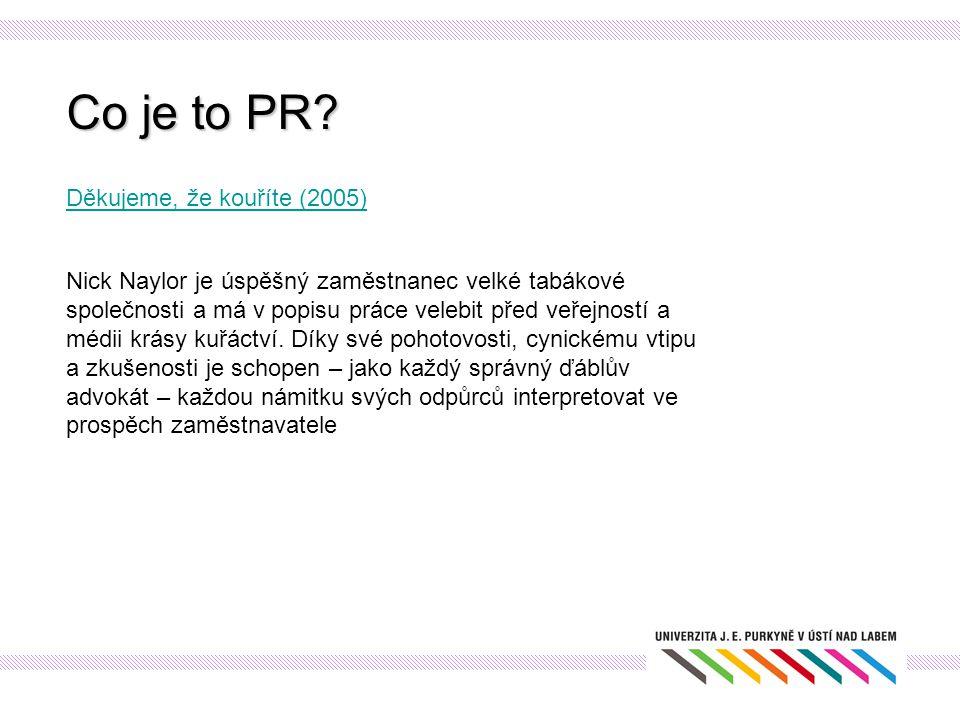"""PR proces Postup při tvorbě PR plánu: Cíle a komunikační cíle SMART (specifikované, měřitelné, akceptovatelné, reálné, termínované) informovat (o Dni otevřených dveří) ovlivnit postoj (změnit negativní postoj veřejnosti, podpořit pozitivní vztah) ovlivnit chování (přesvědčit řidiče, aby přestali řídit pod vlivem omamných látek) Kampaň Ministerstva dopravy """"Nemyslíš zaplatíš (Filip Renč) Nemyslíš, zaplatíš!"""