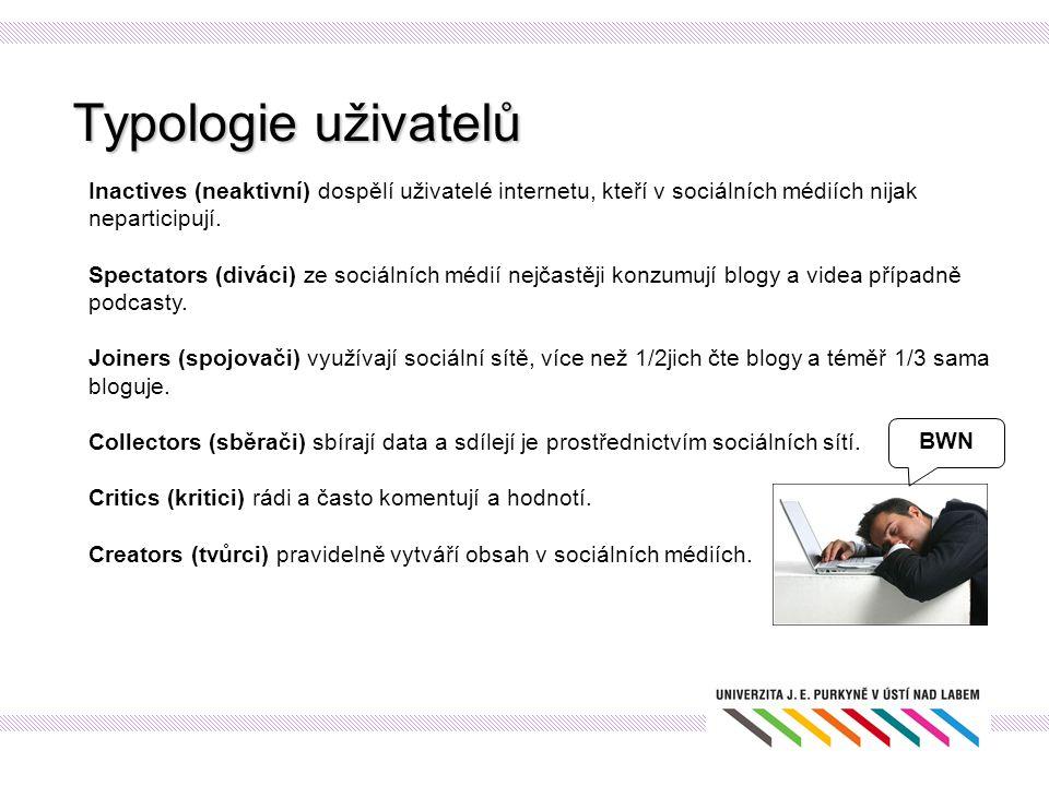Typologie uživatelů Inactives (neaktivní) dospělí uživatelé internetu, kteří v sociálních médiích nijak neparticipují. Spectators (diváci) ze sociální