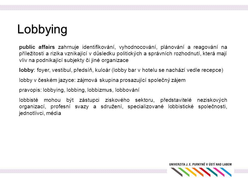 Lobbying public affairs zahrnuje identifikování, vyhodnocování, plánování a reagování na příležitosti a rizika vznikající v důsledku politických a spr