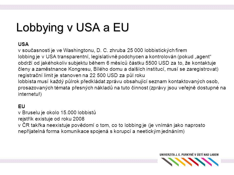 Lobbying v USA a EU USA v současnosti je ve Washingtonu, D. C. zhruba 25 000 lobbistických firem lobbing je v USA transparentní, legislativně podchyce