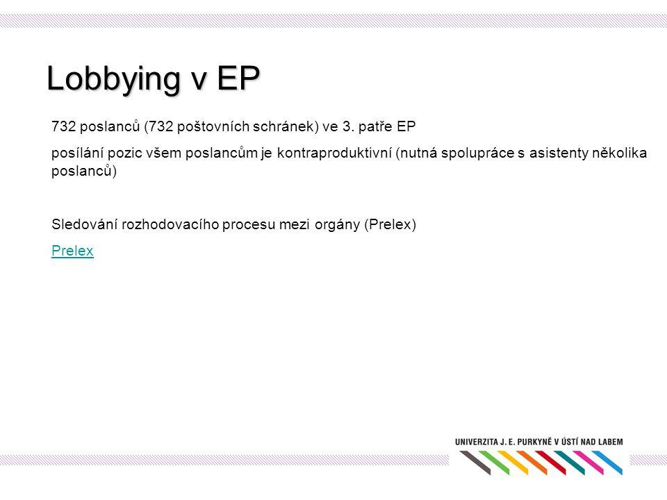 Lobbying v EP 732 poslanců (732 poštovních schránek) ve 3. patře EP posílání pozic všem poslancům je kontraproduktivní (nutná spolupráce s asistenty n