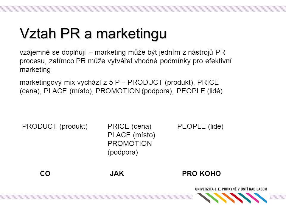 Vztah PR a marketingu vzájemně se doplňují – marketing může být jedním z nástrojů PR procesu, zatímco PR může vytvářet vhodné podmínky pro efektivní m