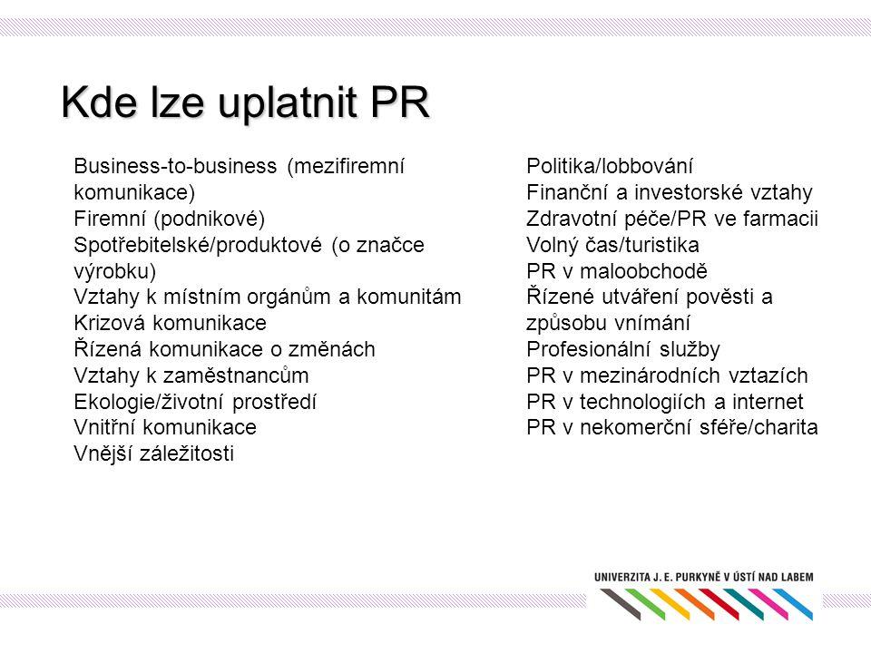 Kde lze uplatnit PR Business-to-business (mezifiremní komunikace) Firemní (podnikové) Spotřebitelské/produktové (o značce výrobku) Vztahy k místním or
