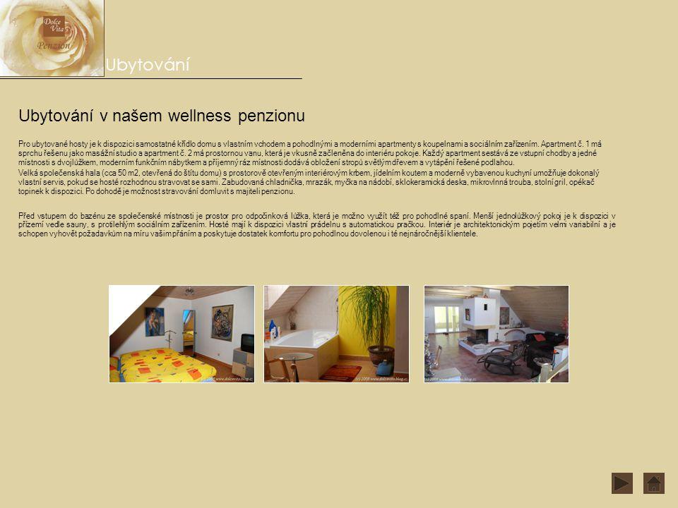 Ubytování v našem wellness penzionu Ubytování Pro ubytované hosty je k dispozici samostatné křídlo domu s vlastním vchodem a pohodlnými a moderními apartmenty s koupelnami a sociálním zařízením.