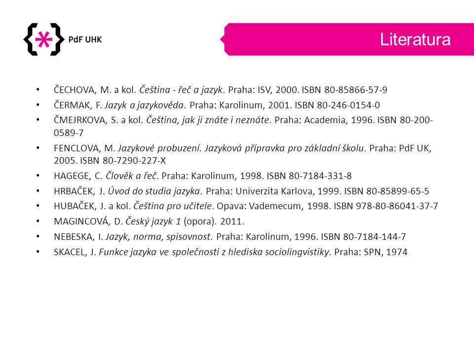 Literatura ČECHOVA, M. a kol. Čeština - řeč a jazyk. Praha: ISV, 2000. ISBN 80-85866-57-9 ČERMAK, F. Jazyk a jazykověda. Praha: Karolinum, 2001. ISBN