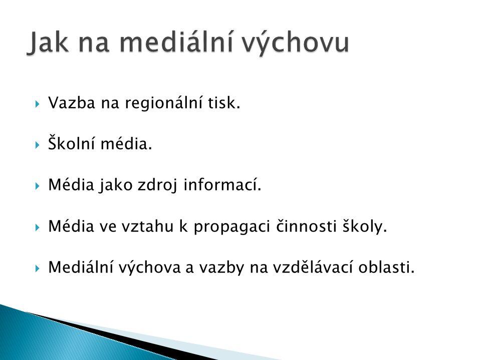  Vazba na regionální tisk.  Školní média.  Média jako zdroj informací.  Média ve vztahu k propagaci činnosti školy.  Mediální výchova a vazby na
